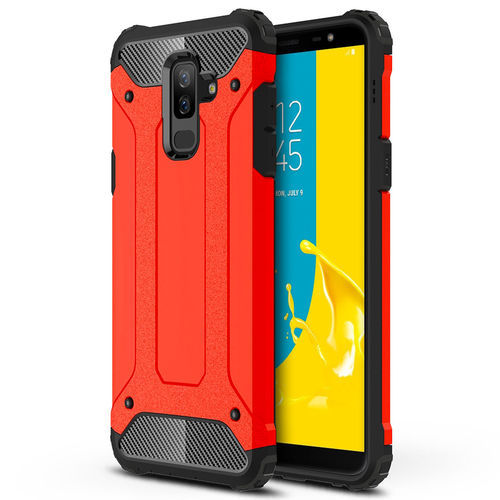 Military Defender Tough Shockproof Case for Samsung Galaxy J8 - Red